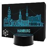 3D LED Lampe Skyline Nachtlicht Leuchte 7 Farben Elbeffekt - Hamburg Geschenk Stimmungslicht - Acryl Illusion Dekoration Dekolicht