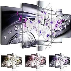 Quadro 200x100 cm ! Tre colori da scegliere - 5 Parti - Grande formato - Quadro su tela fliselina - Stampa in qualita fotografica -- Fiore Orchidea Diamondo b-A-0238-b-p 200x100 cm B&D XXL