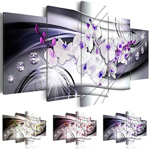 Cuadro en Lienzo 100x50 cm - Tres colores a elegir - 5 partes - Impresion en calidad fotografica - Cuadro en lienzo tejido-no tejido - Flor Orquï¿œdea Diamondo b-A-0238-b-p 100x50 cm B&D XXL