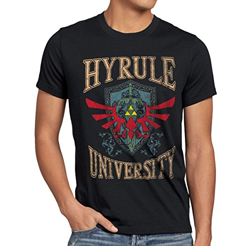 style3 University of Hyrule Camiseta para hombre T-Shirt, talla:M;Color:Negro
