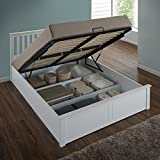 Happy Beds Phoenix Ottoman Bed White Finish Modern Frame Bedroom Comfort 4'6'' Double 135 x 190 cm