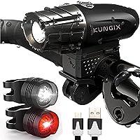 LED Fahrradlicht set, Kungix Wiederaufladbare fahrradlampenset, Fahrradlampe LED Set mit USB Wasserdichte 4 Licht-Modi, Frontlicht 2 x Rücklichter