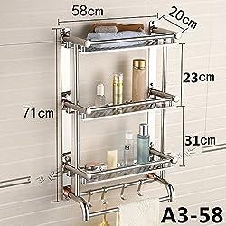 Daadi Edelstahl mit integrierten Ablagen Handtuchhalter Bad WC Badezimmer 3 Tier Handtuchhalter an der Wand, Einem 358 cm
