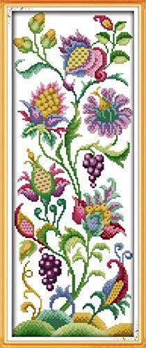 Dodom Abstrakte Blumen-Ausgangsdekoration-Kreuzstich-Ausrüstungen mit der schriftlichen Muster-Stickerei-Nadel-Leinwand-Malerei Dmc Garen25cm * 60cm, 11CT, 11CT -