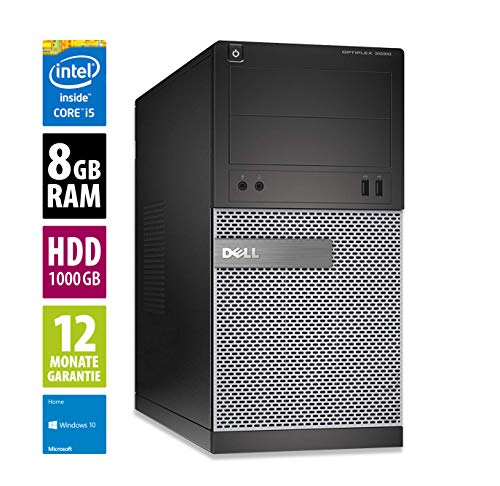 Dell Optiplex 3020 MT | Büro Computer/Internet PC | Intel Core i5-4590 @ 3,3 GHz | 8GB DDR3 RAM | 1000GB HDD | DVD-Brenner | Windows 10 Home (Zertifiziert und Generalüberholt)