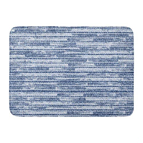 KENTONG Hill Bath Mat Brush Blue Thread Striped Faded Denim Frayed Jeans Abstract Canvas Bathroom Decor Rug 15.7