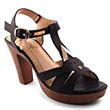 Unze New Women Ladies 'Ceselia' Cone Heeled Wedge Carnival Summer Sandals Shoe Size 3-8