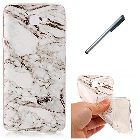 Coque Samsung J5 prime marbre TPU ultra-mince transparente silicone souple Coquille.DECHYI- blanc+ Stylus capacitif