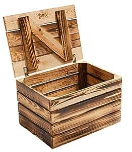 Holzkiste mit Deckel groß geflammt 85x55x46cm: Amazon.de