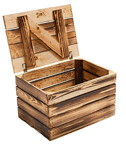 Holzkiste mit Deckel groß geflammt 85x55x46cm