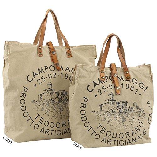 Campomaggi  C1262-TEVL, Sac à main pour femme Beige - beige natural / print red