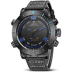 Alienwork LED Analog-Digital Armbanduhr XXL Oversized Uhr Multi-funktion Nylon blau schwarz WD.WH-6103-B-4