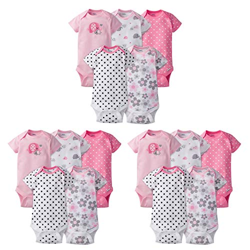 Gerber Baby Girls' 15-Piece Variety Grow-with-Me Onesies Bodysuits, Elephants/Flowers, Assorted Months -