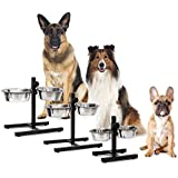 Pets Empire Stainless Steel Feeding Bowl Set Of 2 With Height-Adjustable Stand, Dog Feeding Station With 2 Removable Bowls Cat Feeder Metal Elevated Raised Standing Feeder Bowl Set (Large)