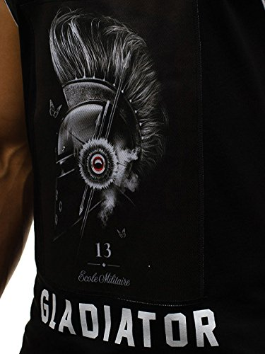 BOLF Herren T-Shirt Tank Top Tee Party Rundhals Slim Fit Motiv 3C3 Print Schwarz