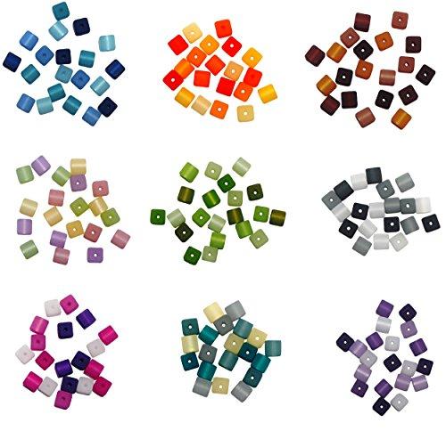 9er Set 01 mit je 20 Stück echte original Polariswürfel Perlenmix 6x6 mm, folgende Mixe sind im Set enthalten: blau, orange, braun, flieder-rosa, grün, grau, aubergine, petrol-grau, lila-flieder, Polarisperlen Polaris Würfel Perlenmischung aus deutscher Produktion, Perlen zum Basteln