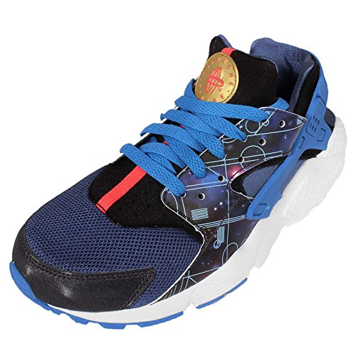 Nike - Huarache Run, Sneaker Unisex – Bambini Blu / Nero / Bianco (Mtlc Hmtt / Mtllc Gld-Lt Pht Bl)