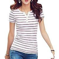 Minzhi Frauen Gestreifte T-Shirt Knopf V-Ausschnitt Kurzarm T-Stücke Baumwolle dünne grundlegende Top