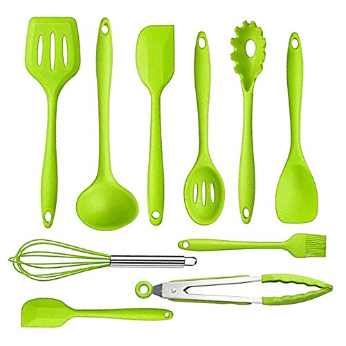 Af Cloud 10 Pcs Silicone Kitchen Utensils Set+ High Temperature Kitchen with Environmental Protection Easy to Clean (Green)