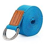 voidbiov D-Ring-Schnalle Yoga-Gurt 1,85 oder 2,5M, Strapazierfähiger Baumwolle, Verstellbarer Gürtel, Perfekt Für Haltungen, Verbesserung der Flexibilität und Physiotherapie