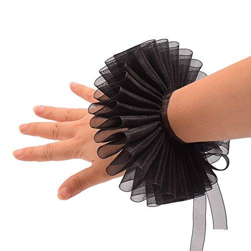 GRACEART Elisabethanisch Handgelenk Rüschen Gekräuselt Manschette Arm Bands 1 Stück (Schwarz) - Ruffled Zwei Stück