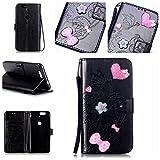 Custodia per Huawei, bonroy® PU in pelle Flip Case Booklet Portafoglio con funzione leggio, scomparto per carte & morbido TPU interni–Pink Love Heart