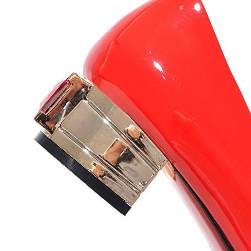 VogueZone009 Donna Scarpe A Punta Tirare Luccichio Puro Tacco Basso Ballerine Rosso