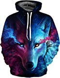 SAINDERMIRA Unisex Fashion 3D Digital Galaxy Pullover Kapuzenpullover Sweatshirt Athletic Casual mit Taschen Gr. XX-Large/XXX-Large, Nebula Wolf