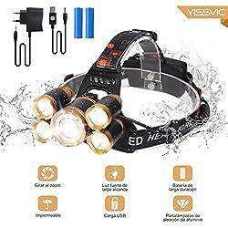 Linterna Frontal LED YISSVIC Faros con Diadema Ajustable Súper Brillante Recargable Impermeable 8000lm 1*CREE T6 4*XPE 4*Modes 5*Bulbos para Actividades al Aire Libre Oro