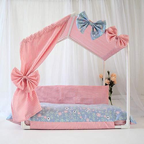 Dgjel - cuccia per cani da principessa, colore rosa e beige, per interni, per l'estate e l'autunno, per animali domestici, tenda da campeggio con tappetino, rosa, l 66x45x63cm