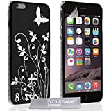 Yousave Accessories Schutzhülle für iPhone 6Plus, Schwarz/Silber Blumen und Schmetterling,