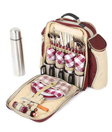 The Greenfield Collection BPS4RDH Super Deluxe vier Personen luxus Picknick Rucksack, weinrot
