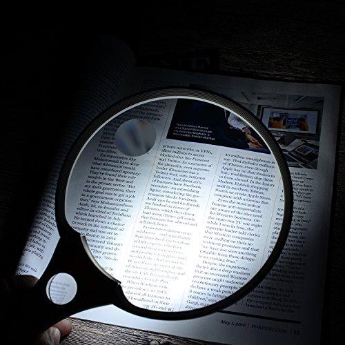 Extragroße Lupe von XYK mit LED-Licht, 14 cm, zum Halten in der Hand, zum Lesen, Untersuchen, Entdecken sowie für Karten, Dokumente, Hobbys und mehr, 2fache, 4fache und 25fache Vergrößerung, Weiß - 6