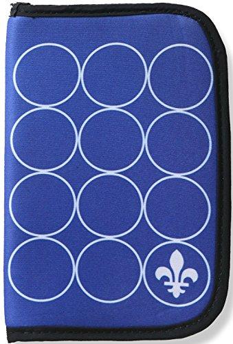ORB Reise-WP502-IW-Fleur de Lis-Indigo/Weiß-RFID-blockend multifunktional Reißverschluss Reisepass Kreditkarten Bankkarte Reisedokument Hülle Halter - Damen-fleur De Lis