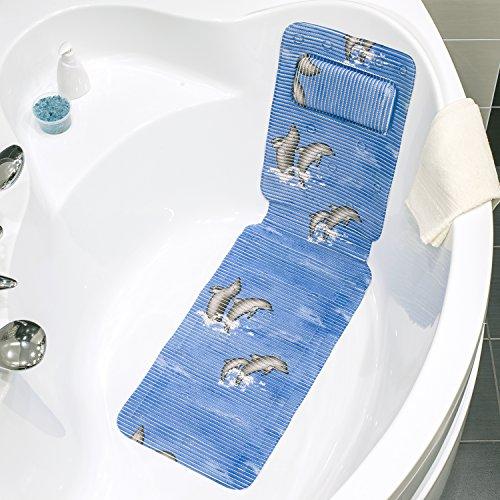 Tatkraft Dolphin Antirutsch Badematte für Badewanne mit Kissen Blau Extra Langes 36 X 124 cm