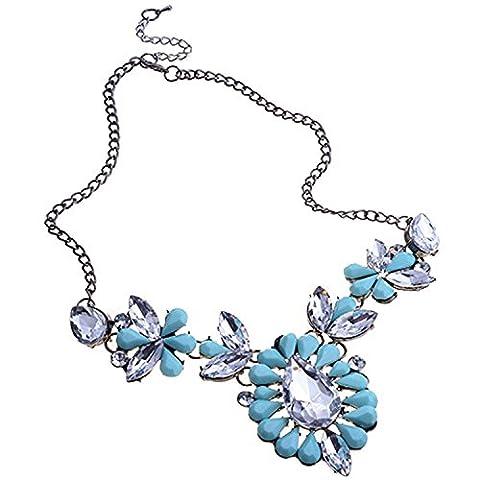 Lureme Träne Harz Stein Pendant and Strass Metallic Schwarz Kette Bejeweled Statement Halskette for Women - Mint Grün (01001223-5*)
