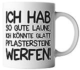 vanVerden Tasse Ich habe so gute Laune, ich könnte glatt Pflastersteine werfen! inkl. Geschenkkarte, Farbe:Weiß/Schwarz