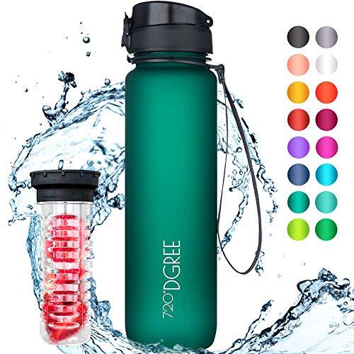 """720°DGREE Trinkflasche \""""uberBottle\"""" - 1 Liter, 1000ml, Grün, Gruen - Neuartige Tritan Wasser-Flasche - Water Bottle BPA Frei - Ideale Sportflasche für Kinder, Fitness, Fahrrad, Sport, Fussball"""