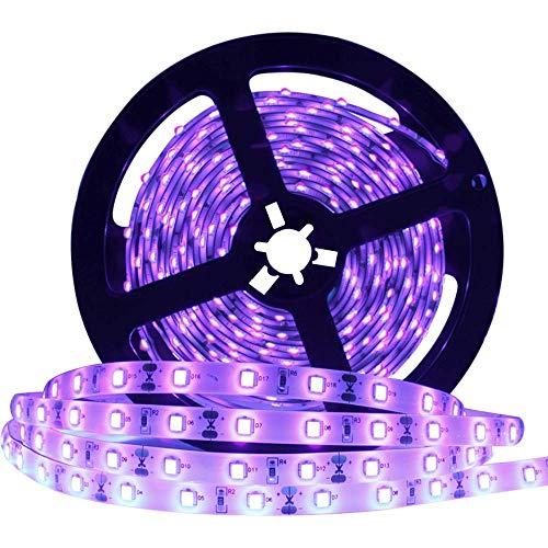 DeepDream 5M UV Schwarzlicht LED Streifen IP65 Wasserdicht mit Netzteil,Selbstklebend 2835 SMD LED Band,UV LED Strip 300 LEDs Lichtband[Energieklasse A+]