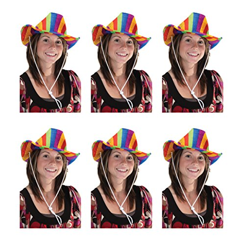 Beistle 60843-rb 6er Pack Rainbow Cowboy Hüte - Supplies Party Cowgirls