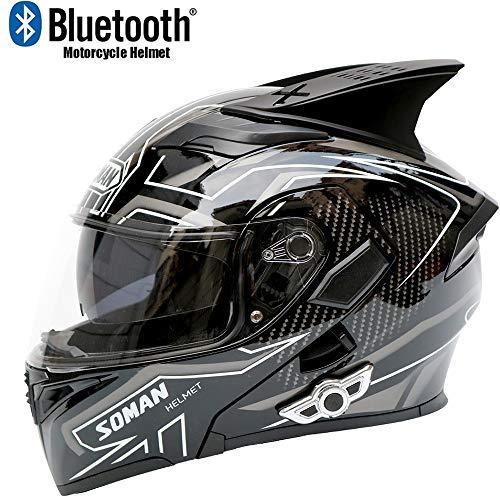 CYX-Uncovering helmet Motorrad-Vollvisier-Schwarz-Weiß-Helm mit HD-Antibeschlag-Doppelscheibe, der den Vollvisier-Motorradhelm mit Bluetooth und Hörnern öffnet,L