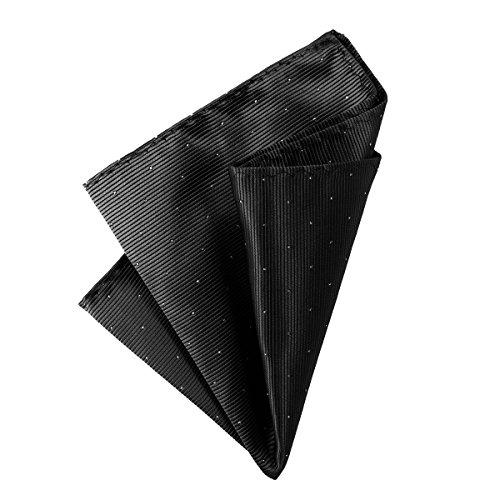 DonDon Herren Hanky 25 x 25 cm edles Einstecktuch für feierliche und besondere Anlässe schwarz mit silbernen Punkten (Schwarzes Einstecktuch)