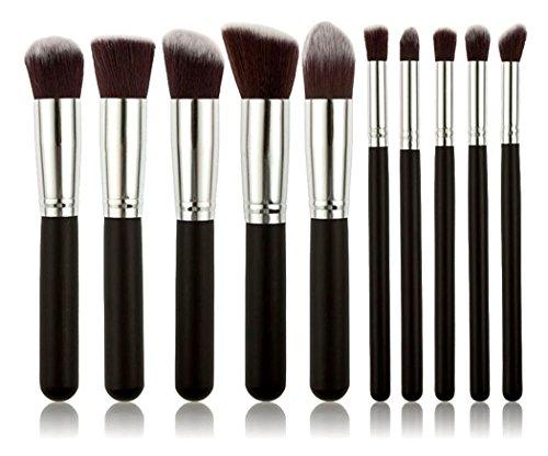 Xiaoyu Pinceaux de maquillage 10PCS Ensemble de brosse de maquillage de qualité supérieure, Ensemble de brosse à maquillage Fondation de produits cosmétiques Mélange de maquillage pour le maquillage Pinceau à lèvres Kit de brosse à maquillage, argent et noir