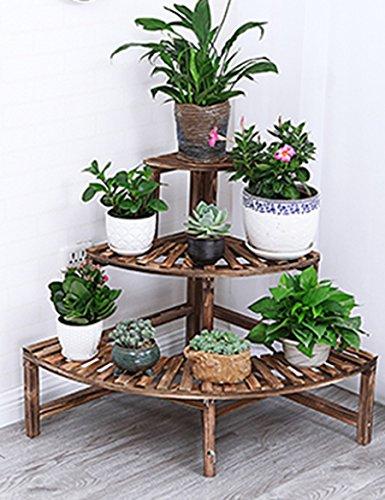 Étagères à fleurs polyvalentes Corner Corner Anticorrosif Fleur Stand Pastoral Wind Étagère à trois angles Échelle Multi - Solid Wood Floor Flower Stand Pour intérieur et extérieur