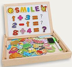 Fast 100 Stück Magnetisches Holzpuzzles, Doppelseitige Puzzle Tafel Lernspielzeug Staffelei Doodle Lernspiel Spiel Pädagogische Lernspiel, Geschenk für Kinder