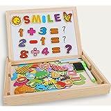 Puzzles Enfant en Bois Magnétique, COOLJOY Jigsaw avec Tableau Noir de Chevalet à Double Face Jouets Educatif pour Bambin Enfants Fille 3 Ans 4 Ans 5 Ans - 100 Pièces