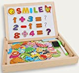 Wooden Kids Toy Magnetic Board Puzzle Games, Cooljoy Double Face Jigsaw& Drawing Easel Chalkboard Educational Learning Toys for Kids 3 4 5 Years Old (Number Pattern) - Cooljoy - amazon.co.uk