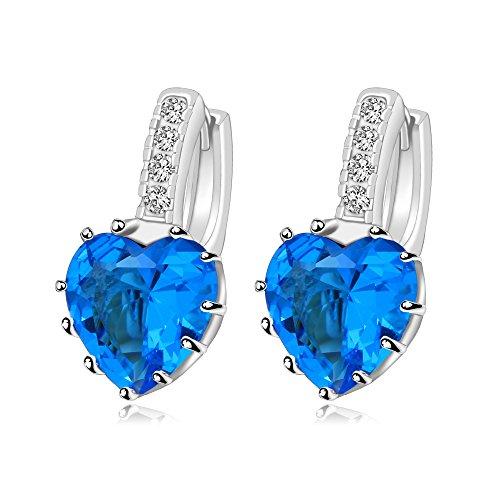 XUPING Gioielli Platino Placcato oro Orecchini Colorful Popolare Gioielli regalo per le Donne, Placcato Platinum, Colore: Light blue, cod. X2057-E18