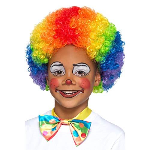 NET TOYS Bunte Clown-Perücke für Kinder | Originelles -Kostüm-Zubehör Harlekin Lockenkopf | Genau richtig für Kinder-Fasching & Kostümfest