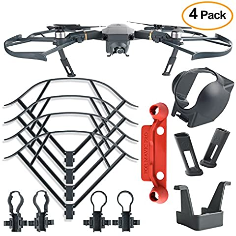 Kuuqa 4Pcs Protection Accessories Kits for DJI Mavic Pro, Including Landing Gear Extender, Lens Hood Gimbal Guard, Quick Release Propeller Prop Guard and Remote Controller Stick Thumb Protective